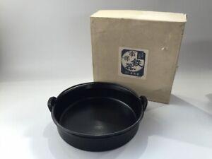 Japanese-Iron-Cooking-Pan-Pot-Nabe-Vtg-Sukiyaki-Signed-Nanbutekki-Handle-q136