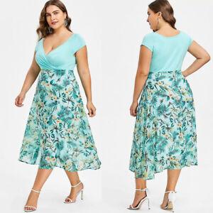Fashion-Women-Plus-Size-Midi-Dresses-V-Neck-Wrap-Chiffon-Short-Sleeve-Prom-Dress
