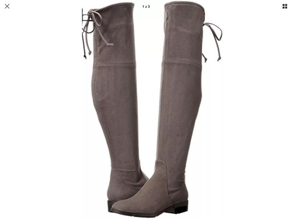 BNWTB 100% Auth GUESS Over the Knee Flat Boots   Taupe  Suedette. RRP