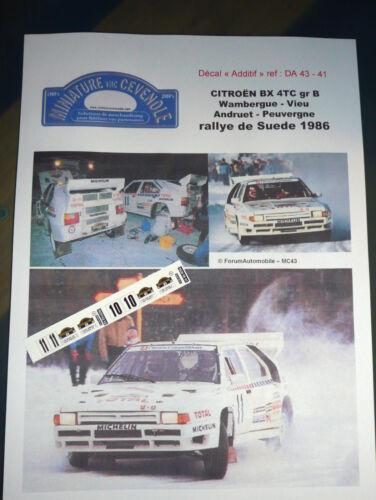 MC43 DECAL  ADD 1:43 CITROEN BX 4 TC WAMBERGUE ANDRUET RALLYE SUEDE 1986