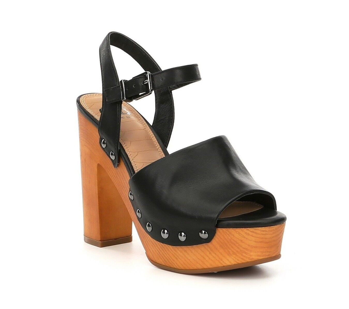 GB Gianni Bini Meri-Cana Womens Size 8M Black Leather Nail Stud Platform Sandals