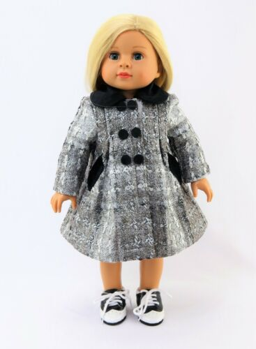 "Silver And Black Coat Fits 18/"" American Girl Doll Clothes"