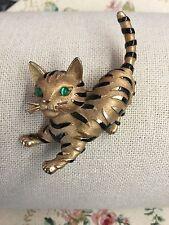 Breathtaking Rare Crown Trifari Black Striped Gold Cat Brooch Intense Green Eyes