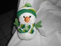 Walmart Wal-mart White Green Knit Striped Scarf Hat 7