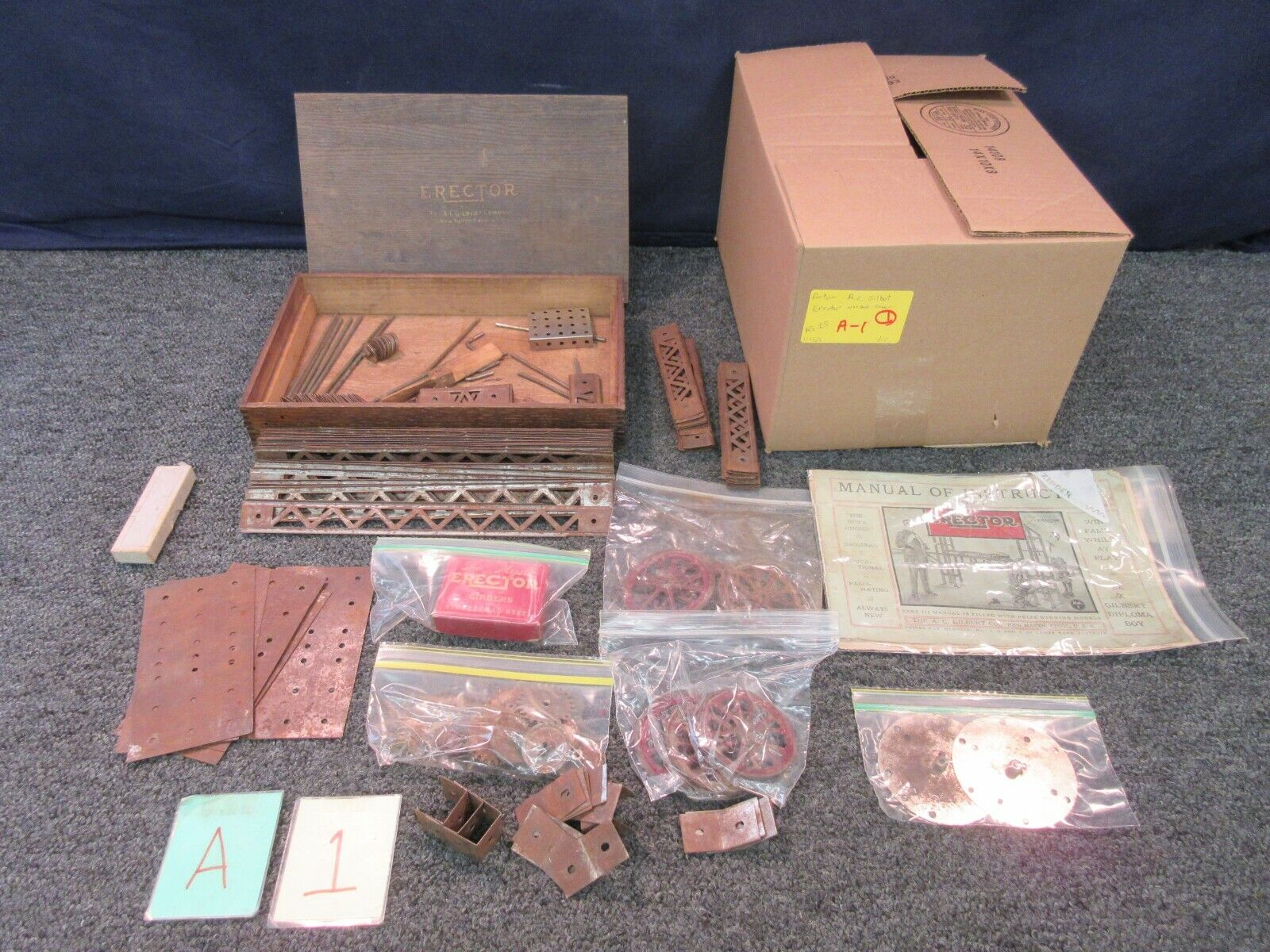 AC Gilbert Vintage Antique Erector Part 1 Manual Catalog Wood Box Toy Collector