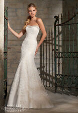 NEW Mori Lee Bridal Gown Wedding Dress 2705 Champagne A Line Lace Crystal 14