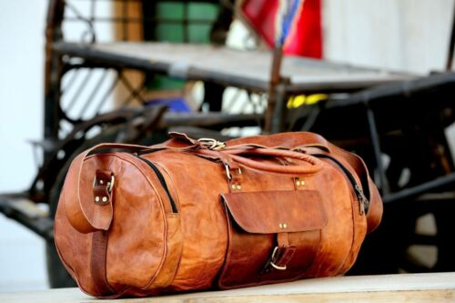 """New 24/"""" Men/'s duffel genuine Leather large vintage travel gym bag tote carry on"""