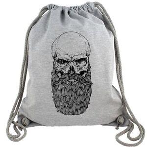 Skull Beard Totenkopf Bart Hipster Gym Bag Turnbeutel Rucksack GymBag Vollbart