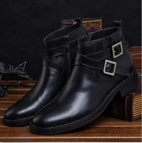Uomo Real Dress Formal Business Shoes Pelle Ankle Buckle Strap Retro Stivali yh