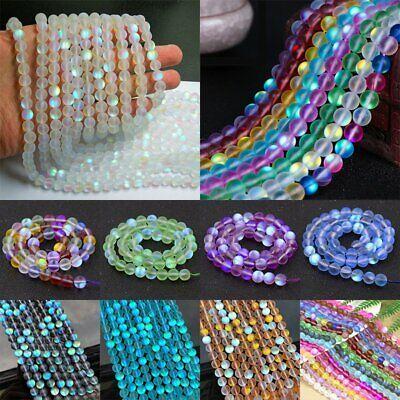 Wholesale Mystic Aura Quartz Gemstone 6mm Bead Holographic Matte Bracelet Charms