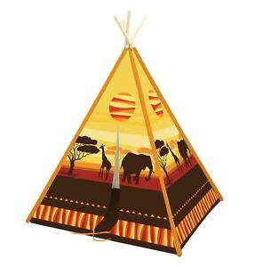 on sale 44934 d75ae Details about WIGWAM KIDS TEEPEE, INDOOR OR GARDEN PLAY TENT SAFARI THEME