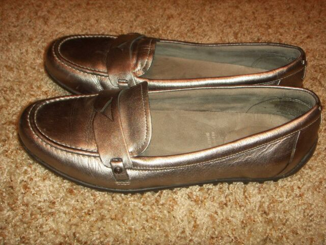 Rockport Silver Leather Penny Loafer Shoes adiPrene Womens ...