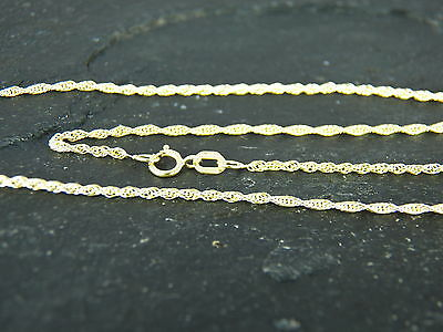 """UK Made /& Box 9ct Yellow Gold Light Prince of Wales Rope Chain 18/"""" 45cm  1mm"""