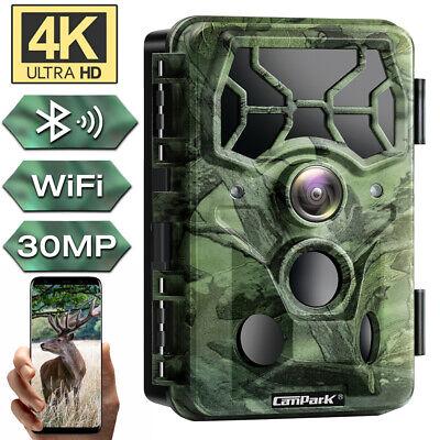 4K//30MP Wifi Bluetooth Wildkamera PIR Nachtsicht überwachungskamera+Solarplatten