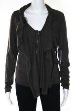 Elie Tahari Brown Wool Long Sleeve Ruffled Zipper Front Cardigan Sweater Size S