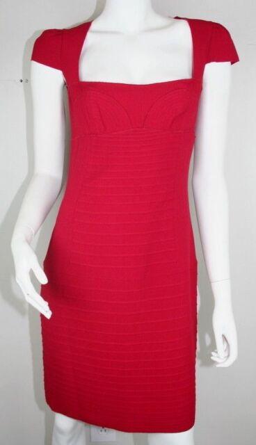 8908ecaaee3 New Prada Red Cap Sleeve Square Neckline Raw Hem Sheath Cocktail Dress 42   1775