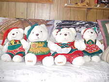 "4 Santa's Magical Toyshop Family K-Mart Christmas Bears 1995 Tags 16"" &  20"""