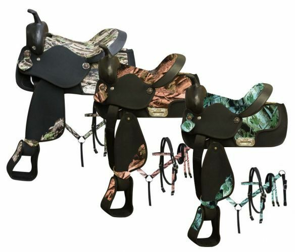 12  Saddle w   Camo Print Seat & Accents  Pony Headstall & Breastcollar  the latest models
