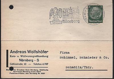 Postkarte 1937 Andreas Wolfshöfer Kurz-wollwarengroßhandlung NÜrnberg
