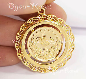 Resat Altin ceyrek Tugra chaîne doré GP pièce PENDENTIF 24 carat doré 34 mm