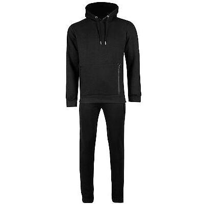 Mens Pocket Fleece Hooded Long Sleeve Overhead Vertical Zip Up Trouser Tracksuit