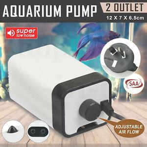 Aqua-Aquarium-Air-Pump-Oxygen-Fountain-Pond-Aerator-Water-Fish-Tank-2-Outlet