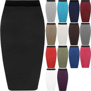 Office Midi Pencil Skirt Stretch Bodycon Tube Womens Ladies Plain Plus Size*wigl
