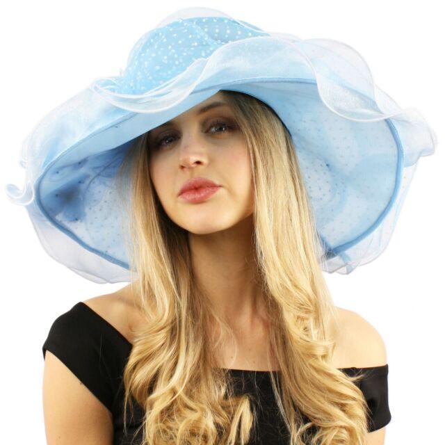Fancy Classy Polka Dot Ruffle Kentucky Derby Floppy Ruffle Organza Hat