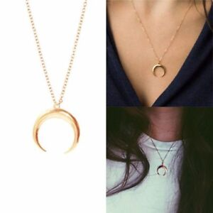 Women-Chain-Necklace-Long-Crescent-Moon-Pendant-Horn-Necklace-Jewelry