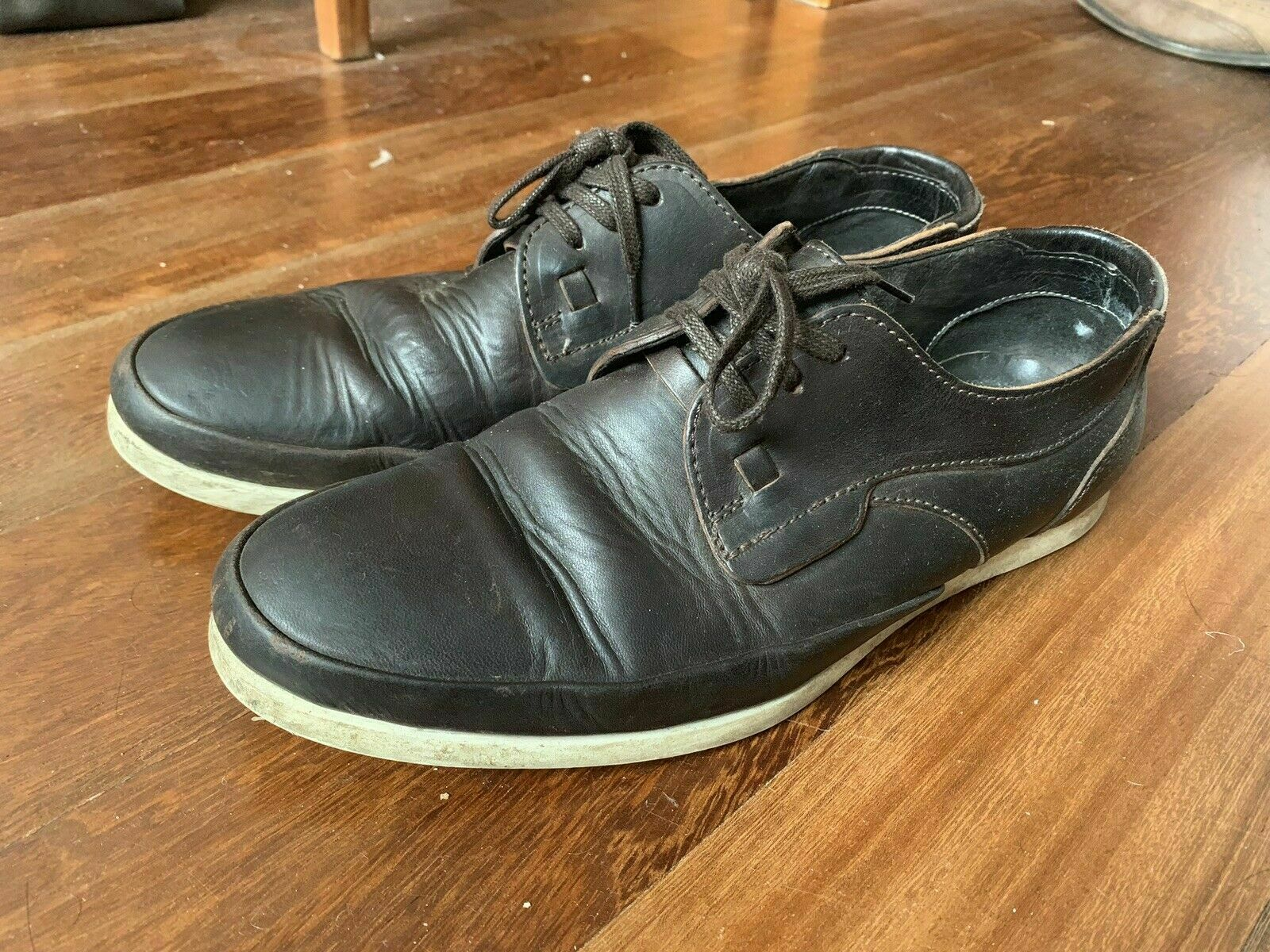 FOLK CLOTHING Alaric Brown Leather Mens Lace Up Shoes size 42