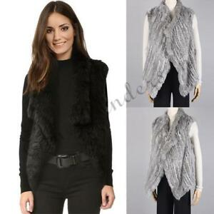 Womens Real Rabbit Fur Knitted Gilet Short Style Vest Good Quality ... 8dcabb46a9