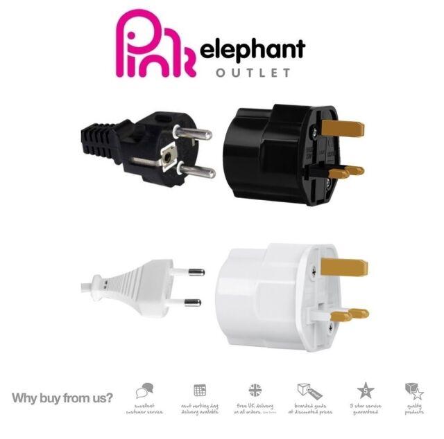 2 pin Euro to UK 3 pin adapter. Push on Euro AC Plug Adaptor in White 5 PACK