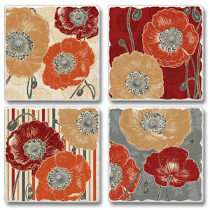 Mixed-Absorbent-Stone-Coasters-Set-4-A-Poppy-039-s-Touch-Retro-Floral-Poppies