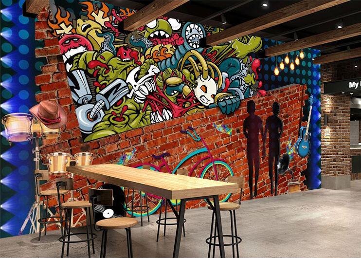 3D graffiti 366 Parete Murale Foto Carta da parati immagine sfondo muro stampa