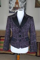 Nanette Lepore Tweed Lined Button Down Blazer Jacket Size 4