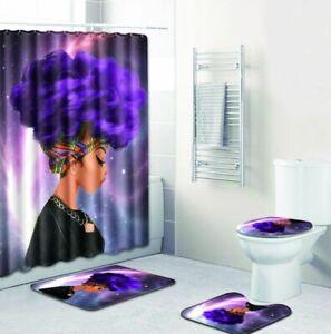 4Pc-Set-Print-Bathroom-Non-Slip-Rug-Lid-Toilet-Cover-Bath-Mat-Shower-Curtain