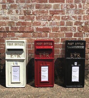 Simbolo Del Marchio Royal Mail Ghisa Er Casella Postale Pilastro Rosso Nero Bianco Buca Delle Lettere Verniciato A Polvere-mostra Il Titolo Originale