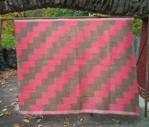 Classic Double Pink and Brown Lightning Bolt Antique Quilt Hand Quilted c1870-90