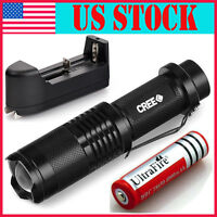 T6 Tactical Military LED Flashlight Torch 5000LM Zoomable 5-Mode for 18650 QU