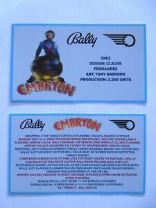 * * 'EMBRYON' Bally 1981 Custom  Instruction/Apron Cards * * (New)