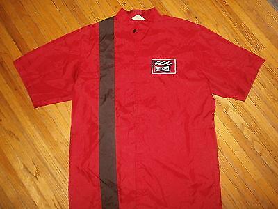 Clever Vtg Champion Zündkerze Nylon-jacke Rot Rennsport Streifen Kariert Flagge Logo