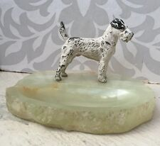 Vintage Antique Art Deco Cold Painted Fox Airedale Terrier Dog Onyx Ashtray