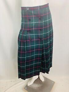 blarney-Woolen-Mills-Women-s-Skirt-Size-14-Green-Plaid-wool-Irish-tweed-pleated