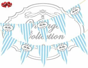 Vintage-Black-Print-Tea-Time-Candy-Blue-amp-White-Stripes-Bunting-Banner-15-flags