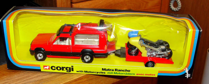 CORGI  25 MATRA RANCHO WITH MOTORCYCLES & TRAILER 1980 MADE IN GREAT BRITAIN
