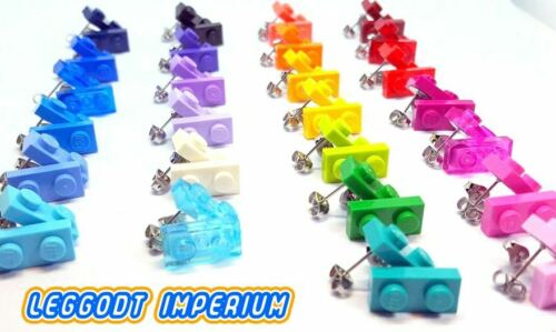 White Blue Purple Pink Red Yellow Green LEGO Stud Plate Earrings FREE POST
