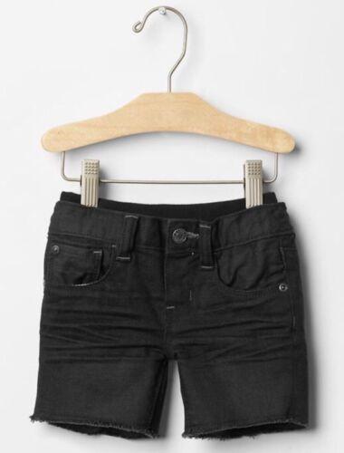 GAP Baby Boys 3-6 Months NWT Black Pull-On Ripped Cutoff Denim Shorts Jeans