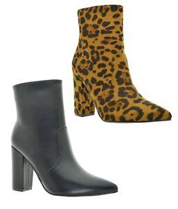 migliore online cercare nuovo elenco Dettagli su Tronchetti donna scarpe a punta stivaletti neri corti con tacco  largo e zip