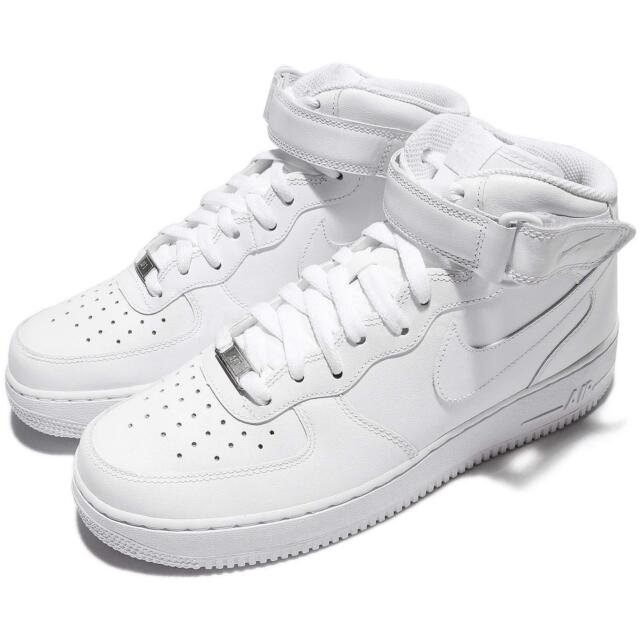 Nike Air Force 1 Mid 07 All White Af1 Mens Lifestyle Casual SNEAKERS 10.5