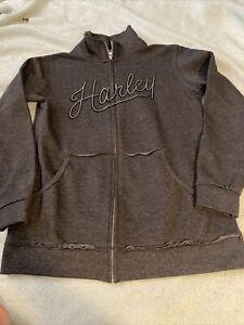 Women's Harley Davidson Gray Zip Up Hoodie Sweatshirt sz M Medium